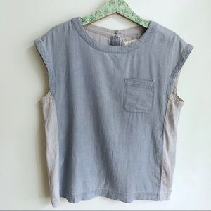 Lou & Grey Blue Chambray Blouse Striped